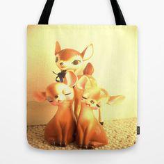 3 little deer Tote Bag by Vintage  Cuteness - $22.00 #vintage #deer #fawn #doe #kitsch #childrens #kawaii #tote #bag #fashion