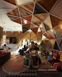 oh my!!triangular ceiling modules with crazy mix of patterns..