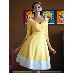TS V Neck Contrast Color Swing Dress – USD $ 38.49