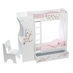 "Fits American Girl Doll Bunk Bed & Desk Combo - 18"" Inch Dolls Furniture"