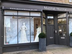 Mirror Mirror Bridal shop - Brides best friend for wedding dresses. Searching for your dream wedding dress? Visit our London boutique to see our extensive designer collection including our own Mirror Mirror couture gowns. Elegant Wedding Dress, Dream Wedding Dresses, Mirror Mirror Bridal, Bridal Boutique, Visual Merchandising, Designer Collection, Minimalism, Windows, Display