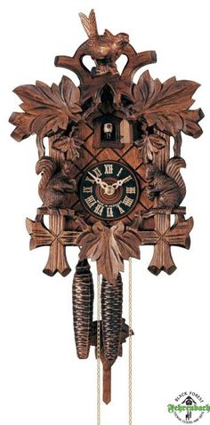 Traditional Cuckoo Clock With Squirrels - Traditional Black Forest Cuckoo Clocks - Cuckoo Clocks