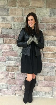 @MonroeandMain Gloves with black dress and tall boots. #ad #MMHolidayFashion