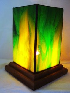 Green and yellow stained glass table lantern by BelloGlass on Etsy, $45.00
