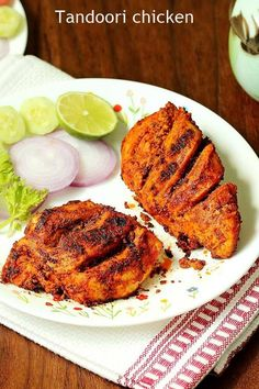 tandoori chicken is a spicy grilled appetizer from Indian cuisine. This restaura… tandoori chicken is a spicy grilled appetizer from Indian cuisine. This restaurant style chicken tandoori is one of the best you can try at home. Authentic Tandoori Chicken Recipe, Tandoori Chicken Marinade, Tandoori Recipes, Spicy Grilled Chicken, Indian Chicken Recipes, Indian Food Recipes, Grilled Meat, Tandoori Paste Recipe, Grilling Chicken
