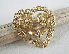 Vintage Filigree Heart & Flowers Valentine by uncommonvintage, $10.00