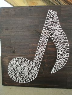 String Art Music Note Nail and String Art by ArnieKHandmade