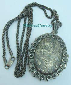 """Large Estate Sterling Silver 925 Oval Locket on Antiqued Sterling 24"""" Necklace #Unbranded #Locket"""