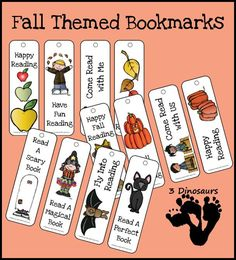 Free Fall Bookmarks for Kids - with apple, leaves, pumpkins and Halloween themes - 3Dinosaurs.com