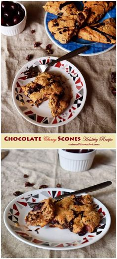 Try this healthy Chocolate Cherry Scones recipe for the healthy scones option; made with whole wheat flour, brown sugar and yogurt. #chocolate #cherry #scones #wholewheat #wholegrain