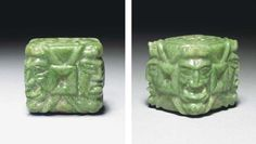 A RARE MAYAN JADE PENDANT  Late Classic, ca. A.D. 550-950  An unusual cube of jade carved on all six sides, two sides with concentric cruciform motif, the arms of equal length, the four corners deeply engraved with four aged deities, possibly God L, their faces encased within monsters' jaws, each centering a similar 'cross' motif, deeply drilled transversally; in apple green mottled stone.  Height 1 3/8 in. (3.3 cm.)