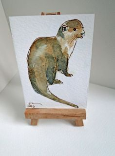 Original Animal Art ACEO Otter Smile Watercolour & by ClareSherwen, £3.00