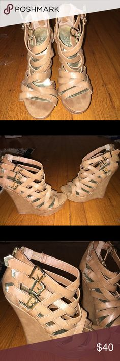 Kendall X Kylie madden girl Tan strappy wedges, only worn twice. Heel is about 4-4.5 inches. Madden Girl Shoes Wedges