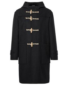 Margaret Howell: Melton Wool Hooded Duffle Coat with toggle closures