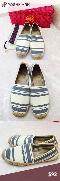 """Tory Burch espadrilles! Excellent condition Tory Burch elastic """"awning stripe"""" espadrilles. Blue & white, size 8.5. Only worn a few times. Box and shoe bag are included. Tory Burch Shoes Espadrilles"""