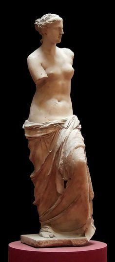 Aphrodite of Milos, better known as the Venus de Milo, is an ancient Greek statue and one of the most famous works of ancient Greek sculpture. Created sometime between 130 and 100 BC, it is believed to depict Aphrodite. It is a marble sculpture, slightly larger than life size at 203 cm (6 ft 8 in) high. The arms and original plinth were lost following its discovery. From an inscription that was on its plinth, it is thought to be the work of Alexandros of Antioch.