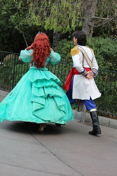 "Princess Ariel and Prince Eric in Disneyland's ""A Christmas Fantasy"" Parade."