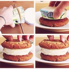 Ice Cream Sandwiches make the perfect ice cream sandwiches by cutting a pint of ice cream into multiple cross sections, then placing each slice on a cookie and lifting off the cardboard exterior before adding another cookie on top.