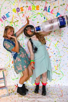 '90s PARTY!! Photo booth backdrop. Blow-up Zima bottle!