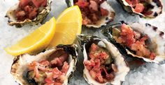 Oysters Kilpatrick (Serves : : : Topped with smoky bacon, this classic oyster dish is the ultimate aphrodisiac. Seafood Recipes, Cooking Recipes, Pub Recipes, Seafood Meals, Shellfish Recipes, Christmas Recipes, Drink Recipes, Recipies, Christmas Lunch