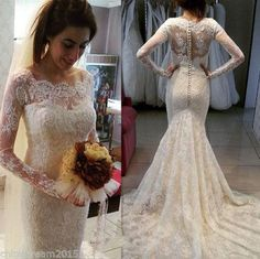 2016 Full Lace Ivory Arabic Mermaid Wedding Dress Sheer Bateau Neck Illusion Long Sleeves Button Back Vestio Chapel Train Bridal Gowns Ba109 Gown Wedding Dress Ivory Mermaid Wedding Dresses From Allanhu, $194.77| Dhgate.Com