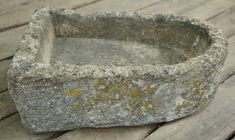 Antique hand carved D shaped stone trough. Nice Lichen and patina. Imported from England. To read more about the history of antique troughs, please visit our blog . Garden Ornaments For Sale, Trough Sink, Stone Sink, Old Stone, Old Farm, Garden Stones, New England, Garden Design, Hand Carved