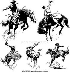 Clipart of Vector Vintage Rodeo Graphics - Search Clip Art, Illustration Murals, Drawings and Vector EPS Graphics Images - Cowboy Tattoos, Western Tattoos, Western Clip Art, Cowboy Draw, Drawn Art, Hand Drawn, Western Crafts, Cowboy Horse, Oldschool