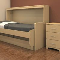 HiddenBed Innovative design combines both bed and desk into the same footprint Easily converts to a twin bed In bed position desk surface remains level and contents undisturbed