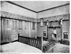 English bedroom shown in 1906 Craftsman magazine. That's a lot of stencilling.