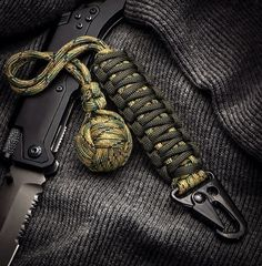 """Multi Camo 1"""" Chromed Ball Bearing Survival Self Defense Paracord Monkeyfist with HK Hook"""