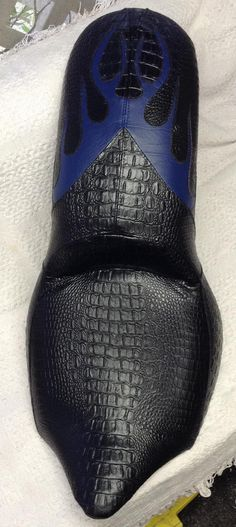 custom black gator with blue cut away flames Bike Seat, Baseball Hats, Leather, Blue, Baseball Caps, Caps Hats, Baseball Cap, Snapback Hats
