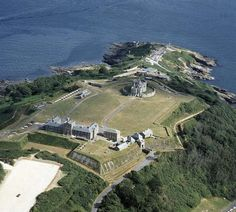 Aerial view of Pendennis, looking south-east. The bastions surrounding the castle are clearly visible