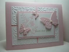 Goin' Over The Edge: Just Believe embossed butterflies card, Beautiful Wings Embosslit :) Stampin Up Karten, Karten Diy, Pretty Cards, Cute Cards, Breast Cancer Cards, Embossed Cards, Embossed Paper, Bridal Shower Cards, Butterfly Cards