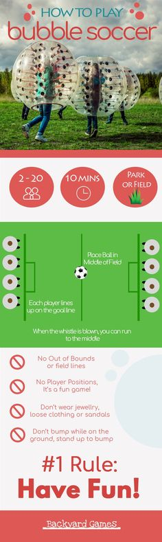 How to Play Bubble Soccer Infographic. Hilarious and SUPER FUN way to play soccer, you can get some really great bounces and have an awesome time running and bouncing around in a bubble soccer ball. Here's how to play. Top Soccer, Soccer Tips, Play Soccer, Soccer Ball, Funny Soccer, Outdoor Games To Play, Backyard Games Kids, Games For Kids, Children's Book Characters
