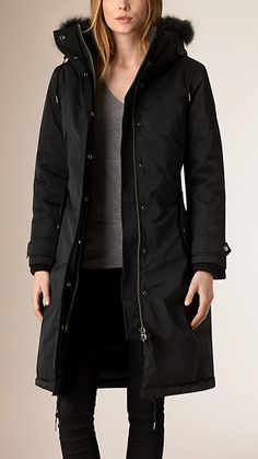 Down-filled Showerproof Parka with Fur trim | Burberry
