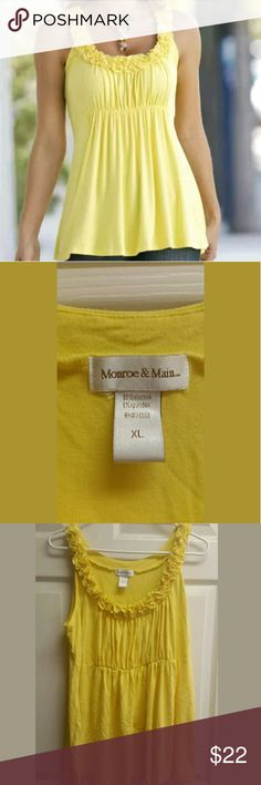 Xl yellow monroe & main knit tank Belle yellow nwo Very pretty light weight career style great for wester great detials item does have few wrinkles in it please advise and wash materials mainly viscose light spring summer yellow flow as well item was never worn but I will put in pre used to be safe  FINAL ##### Pit to pit 21 inches stretchy  Vertical 28 inches monroe & main Tops Blouses