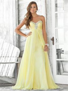 A-line Beaded Sweetheart Empire Chiffon Yellow Prom Dress PD10890  ----2013 Prom Dresses,Prom Dresses 2013,Prom Dresses,Prom Dresses UK,Prom Dresses 2013 UK,2013 Prom Dresses UK
