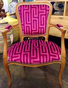 Customer's antique armchair restored and reupholstered in Larry Laslo for Robert Allen with chrome nailheads.