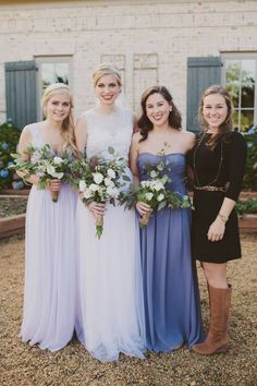 Purple bridesmaid dresses from Little Borrowed Dress. Shades in Iris and Orchid