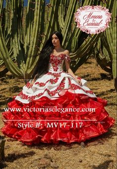 Charro Embroidered & Hand Beaded Dress Make a statement in this off the shoulder floral ballgown wit Mariachi Quinceanera Dress, Mexican Quinceanera Dresses, Quinceanera Decorations, Quinceanera Planning, Quince Dresses Mexican, Charro Dresses, Vestido Charro, Costumes