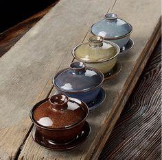 4 Hand-made Gaiwan/tea bowlsChinese Jingdezhen by Chinateaware