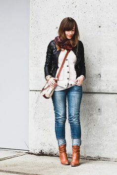 madewell cardigan - Aldo boots - American Eagle jeans - Forever 21 jacket