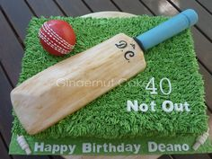 - Cricket bat and ball made from RKT covered in ganache then fondant. Cake is vanilla filled with alternating layers of lemon curd and vanilla bean BC. (Was given a picture of what they wanted the cake to look like - have just seen that I owe design rights to Slean - a few changes were made!)