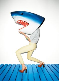 "Aldo S/S 2011 campaign titled ""Life's a Beach"" starring Lily Donaldson and shot by Terry Richardson - Shark Head! Foto Pop Art, Foto Art, Animal Masks, Animal Heads, Shark Head, Shark Shark, Shark Bait, Shark Mermaid, Blue Shark"