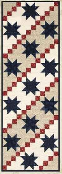 Stars and Stripes Tablerunner Pattern. A loving tribute to America. Double the length, and make this runner to drape across the foot of your bed! A perfect way to dress up your holiday, or celebrate our country with pride all year long. http://www.kayewood.com/item/Stars_and_Stripes_Tablerunner/2797 $9.00