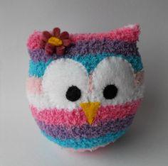 owl, sock animal, plush animal, sock doll, pink, hoot, sock sculpture, Ellie. $10.00, via Etsy.