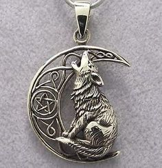 Bronze WOLF & MOON Pendant with Black Leather Cord Necklace NEW Celtic Pentagram