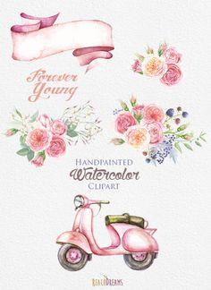 Aquarel Retro bromfiets met bloemen boeket rozen. Uitnodiging