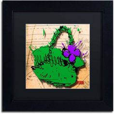 Trademark Fine Art Flower Purse Purple on Green Canvas Art by Roderick Stevens, Black Matte, Black Frame, Archival Paper, Size: 11 x 11