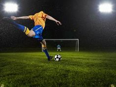 Professional soccer player about to strike penalty kick goalkeeper in. Soccer Poses, Soccer Shoot, Soccer Passing Drills, Professional Soccer, Adventure Activities, Goalkeeper, Fifa World Cup, Soccer Players